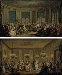 a dance at the hotel soubise, paris (+ a recital at the hotel soubise, paris; pair) by alexandre paul joseph veron