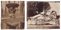 ariane endormie, dite cléopâtre, sculpture de corneille van clève et allée des marmousets, parc du château de versailles (2 works) by eugène atget