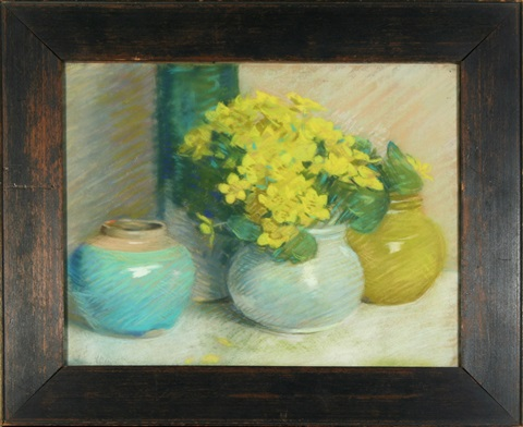 still life with three vase by laura coombs hills