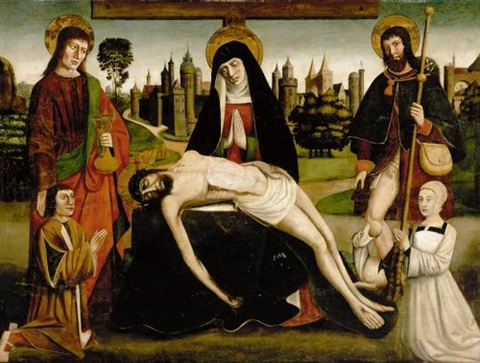 the pietà with saint john the baptist and saint roch and two donors by french school avignon 16