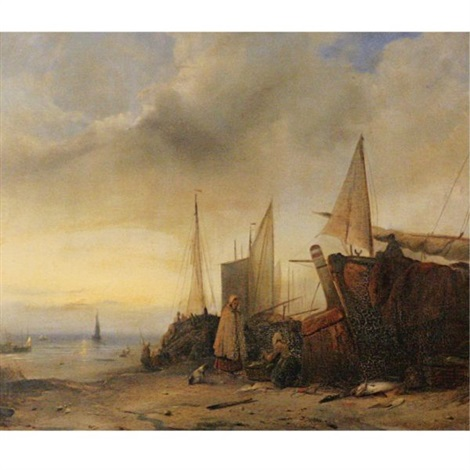 ships at low tide by jacob jacobs