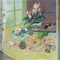 still life with cyclamen by brenda lenaghan