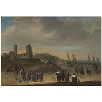 elegant figures strolling on the beach at egmond aan zee, sailing vessels moored on shore, and fisher folk selling their catch in the foreground by cornelis beelt