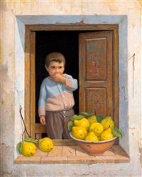 niño junto a una ventana y membrillos by felix tabasco