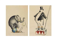 elephant and ringmaster (2 works) by miguel covarrubias