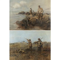 fishing (+ quail hunt; pair) by scottish school (20)