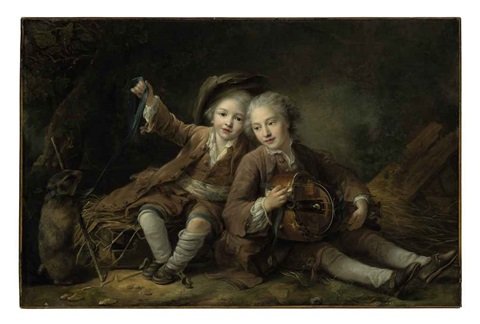 the children of the duc de bouillon dressed as montagnards one playing a hurdy gurdy the other playing with a marmot on a ribbon by françois hubert drouais