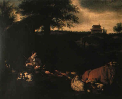 a shepherdess resting by a shelter with farm animals by jan le ducq