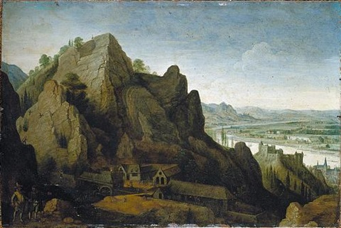 an extensive mountainous landscape with figures before an iron foundry by lucas van valkenborch