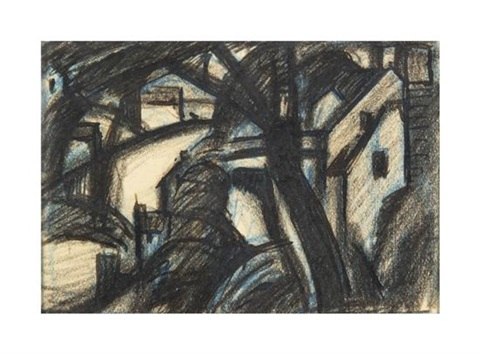 trees and houses by oscar florianus bluemner