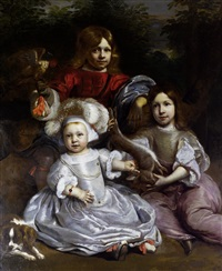 portrait of a young boy with a falcon standing beside a young girl and a younger boy holding a hare, both seated in a landscape by jan de baen