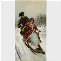 lovers sledding by mariano alonso pérez