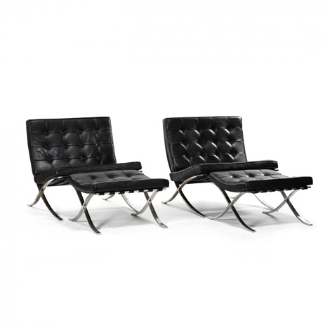 Peachy Pair Of Barcelona Chairs And Ottomans By Ludwig Mies Van Der Caraccident5 Cool Chair Designs And Ideas Caraccident5Info