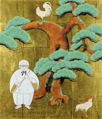 white old man with pine tree by taro yamamoto