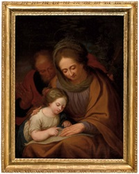 die hl. mutter anna lehrt maria das lesen, im hintergrund der hl. joachim by josef arnold the elder