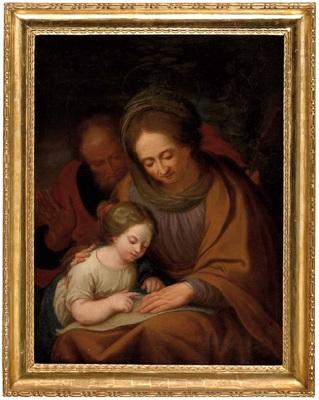 die hl mutter anna lehrt maria das lesen im hintergrund der hl joachim by josef arnold the elder