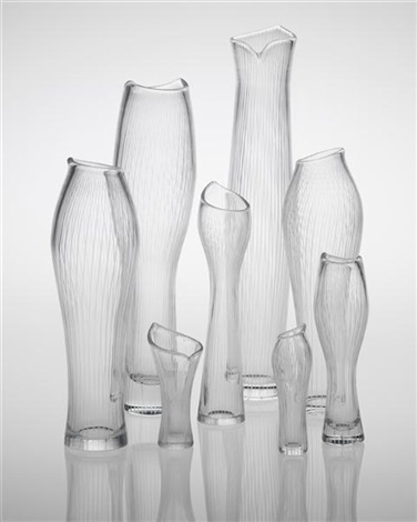 selection of eight vases including varsanjalka model no 3215 and tuonelan virta model no 3522 by tapio wirkkala