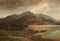 vue prise de heren insen au lac de chien en haute bavière, temps orageux by jean francois xavier roffiaen