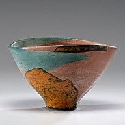 salmon landscape bowl by wayne higby