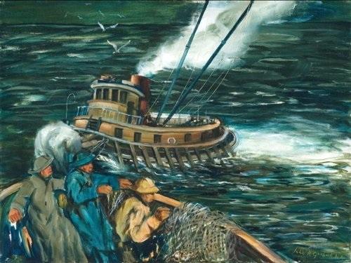 harbor tugboat and fishermen by john r grabach