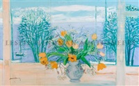 still life with orange flowers by michael henry