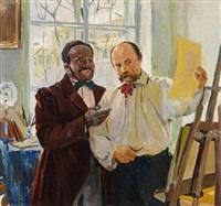 künstler und sammler im atelier by louis picard