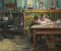 etudiants dans une cuisine by henri van melle