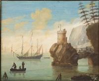 felsige küstenlandschaft mit dreimaster und barke by hendrick frans van lint
