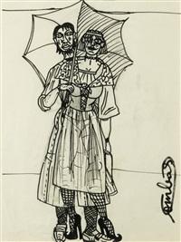 c'est que ce type et cette femme sont imbriqués malgré le temps, il pleut ou il fait trop chaud ? de toute façon, c'est moi qui ai dessiné cette connerie ! by robert combas