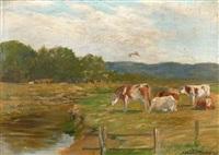 vaches à l'herbage by adrien gabriel voisard-margerie
