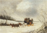 a stage coach in a winter landscape by philip h. rideout