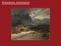 kühe am flussübergang in den bergen by charles auguste humbert