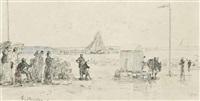 les crinolines et cabines sur la plage by eugène boudin