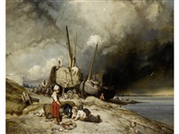 fishermen and boats on the normandy coast with children in the foreground by eugène modeste edmond le poitevin