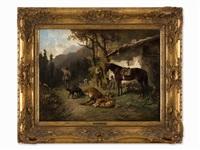 hunting scene by ludwig gustav voltz