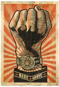 rise above fist by shepard fairey
