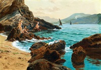 croatian beach with bathers (dalmatia) by robert nadler