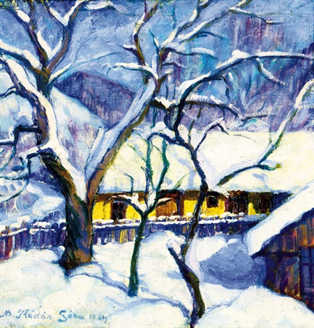detail of baia mare at winter by géza kádár