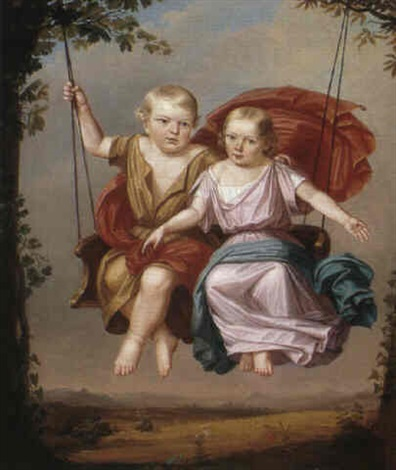 two children on a swing by georg pein