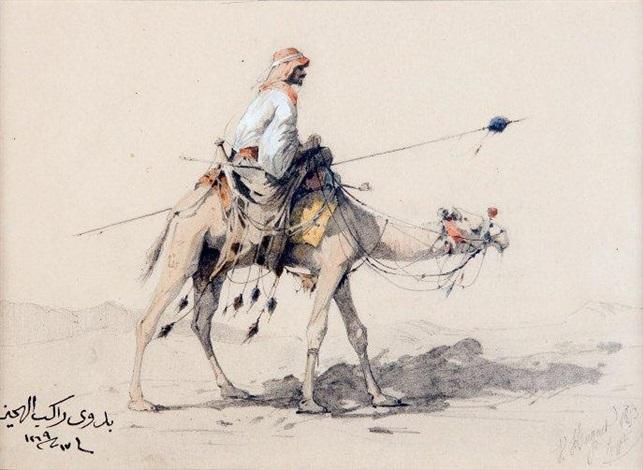 chamelier dans le désert égyptien et etude dun dignitaire en buste recto verso by victor pierre huguet