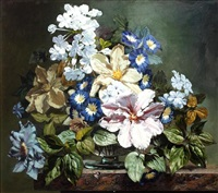 still life of summer flowers on a stone ledge by bennett oates
