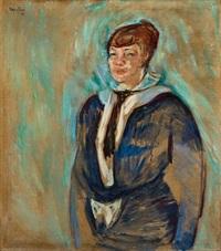 operasangerinne borghild langaard i blå kjole by ludvig peter karsten