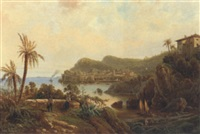 a view of a coastal town with figures on the shore by a. reiger