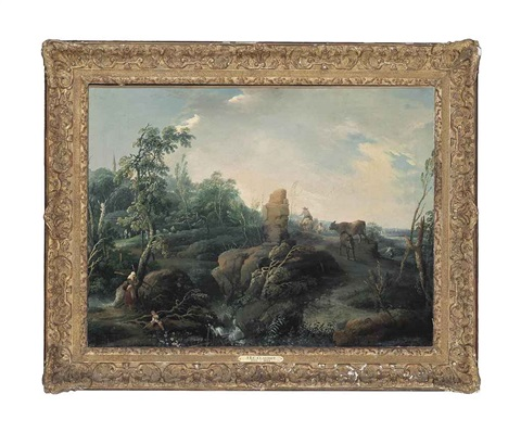 an extensive landscape with travellers on a hillock a ruin in the foreground by jean baptiste charles claudot