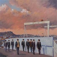 fraser street bridge & yardmen by colin davidson