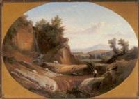 wanderer am bachufer, vor einer weiten landschaft by johann georg gmelin