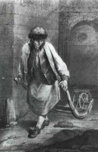 paysan saxon tirant une brouette by charles françois hutin