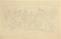 ludwig von thüringen, the iron count, orders the aristocrats to plough the fields by bonaventura genelli