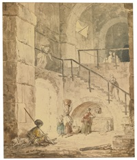 roman interior with a fountain by hubert robert