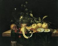 stillleben mit orangen, kirschen, granatapfel und einem gefüllten weinglas by jan jansz heem the younger
